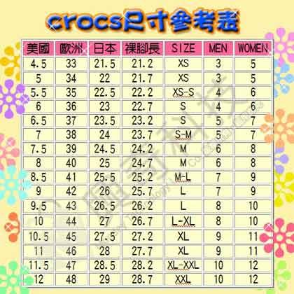 CROCS的尺寸對照表
