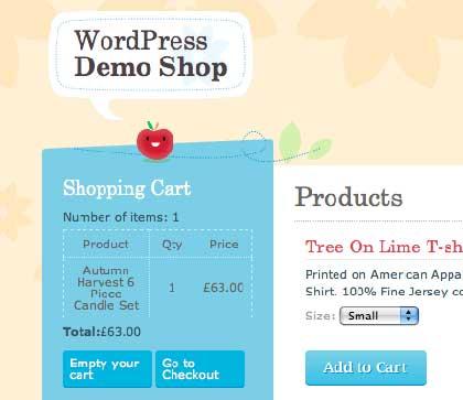 wp-e-commerce佈景crafty cart