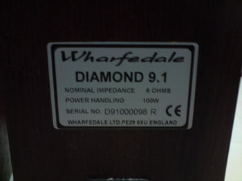 wharfedale diamond 9.1 喇叭-背面狗牌
